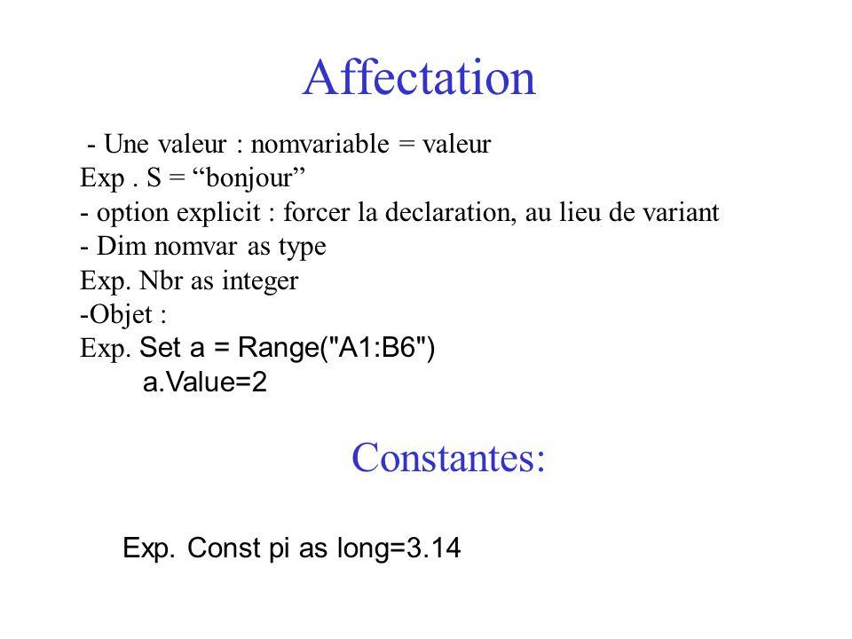 """Affectation - Une valeur : nomvariable = valeur Exp. S = """"bonjour"""" - option explicit : forcer la declaration, au lieu de variant - Dim nomvar as type"""