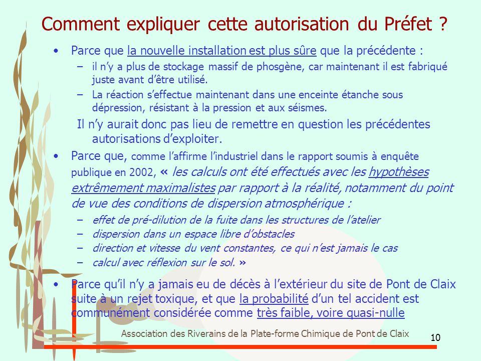 10 Association des Riverains de la Plate-forme Chimique de Pont de Claix Comment expliquer cette autorisation du Préfet ? Parce que la nouvelle instal