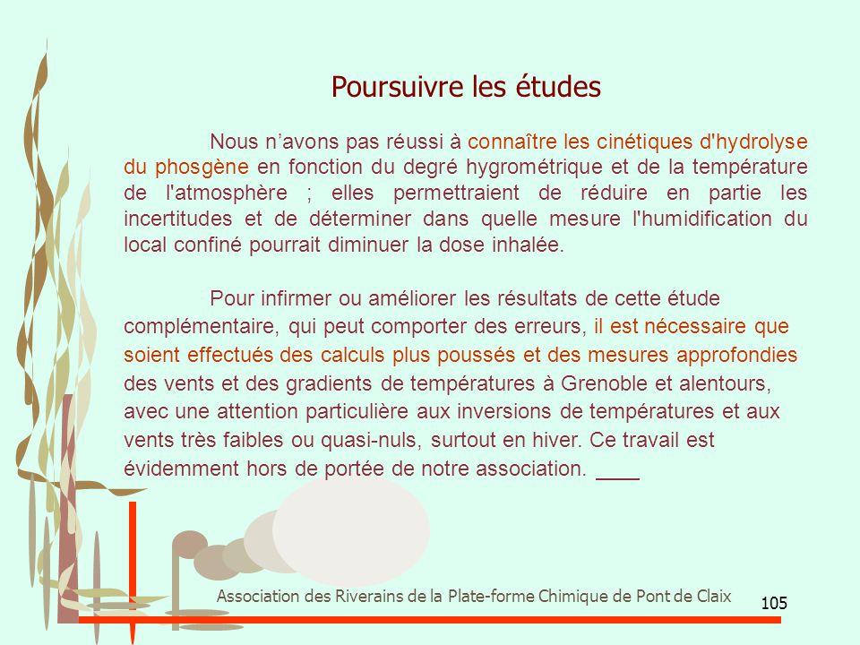 105 Association des Riverains de la Plate-forme Chimique de Pont de Claix Poursuivre les études Nous n'avons pas réussi à connaître les cinétiques d'h