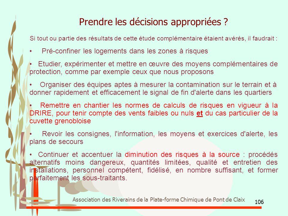 106 Association des Riverains de la Plate-forme Chimique de Pont de Claix Prendre les décisions appropriées ? Si tout ou partie des résultats de cette