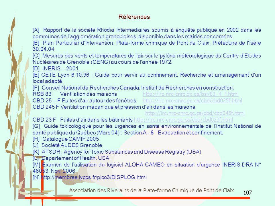 107 Association des Riverains de la Plate-forme Chimique de Pont de Claix [A] Rapport de la société Rhodia Intermédiaires soumis à enquête publique en