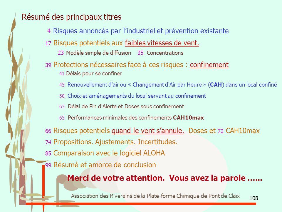 108 Association des Riverains de la Plate-forme Chimique de Pont de Claix Résumé des principaux titres 4 Risques annoncés par l'industriel et préventi