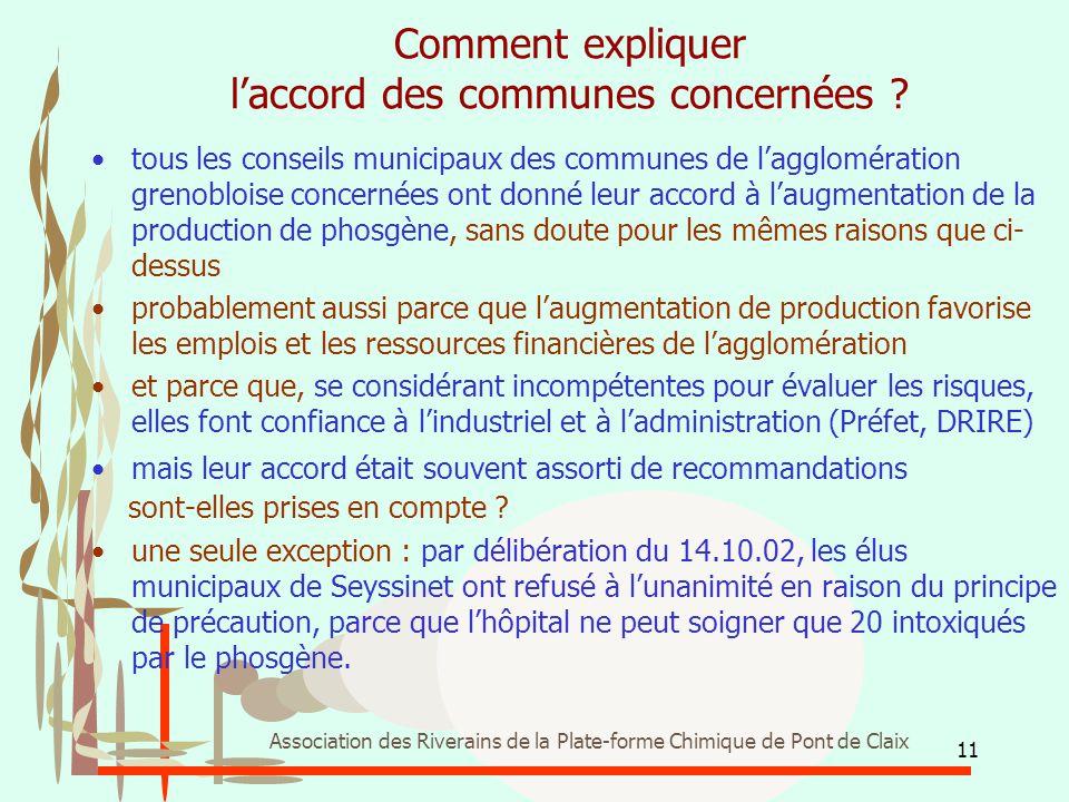 11 Association des Riverains de la Plate-forme Chimique de Pont de Claix Comment expliquer l'accord des communes concernées ? tous les conseils munici