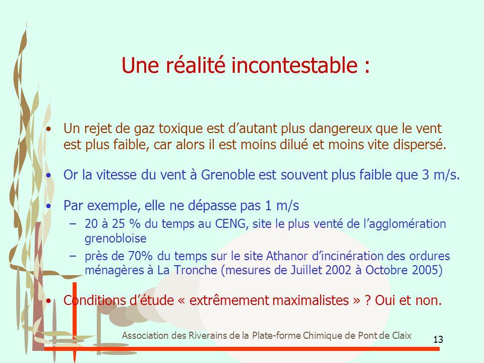 13 Association des Riverains de la Plate-forme Chimique de Pont de Claix Une réalité incontestable : Un rejet de gaz toxique est d'autant plus dangere