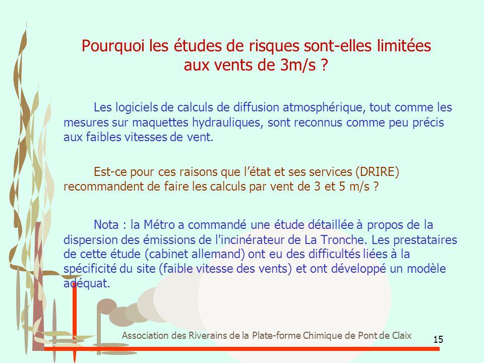 15 Association des Riverains de la Plate-forme Chimique de Pont de Claix Pourquoi les études de risques sont-elles limitées aux vents de 3m/s ? Les lo