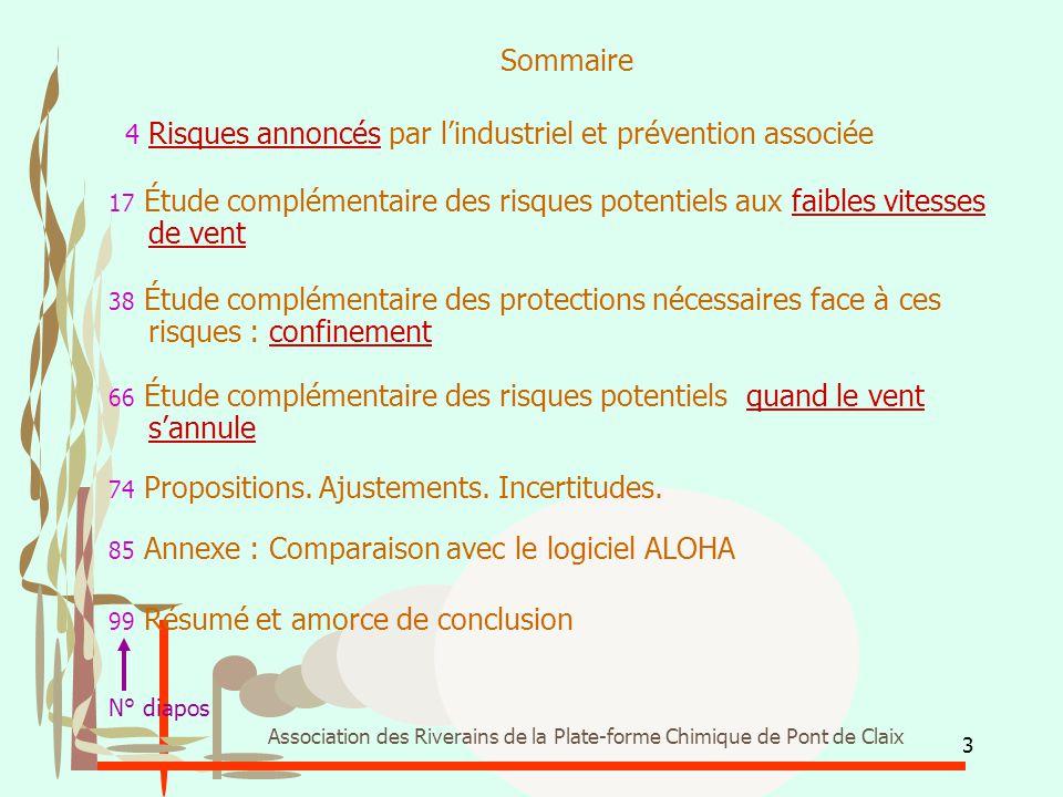 3 Association des Riverains de la Plate-forme Chimique de Pont de Claix Sommaire 4 Risques annoncés par l'industriel et prévention associée 17 Étude c