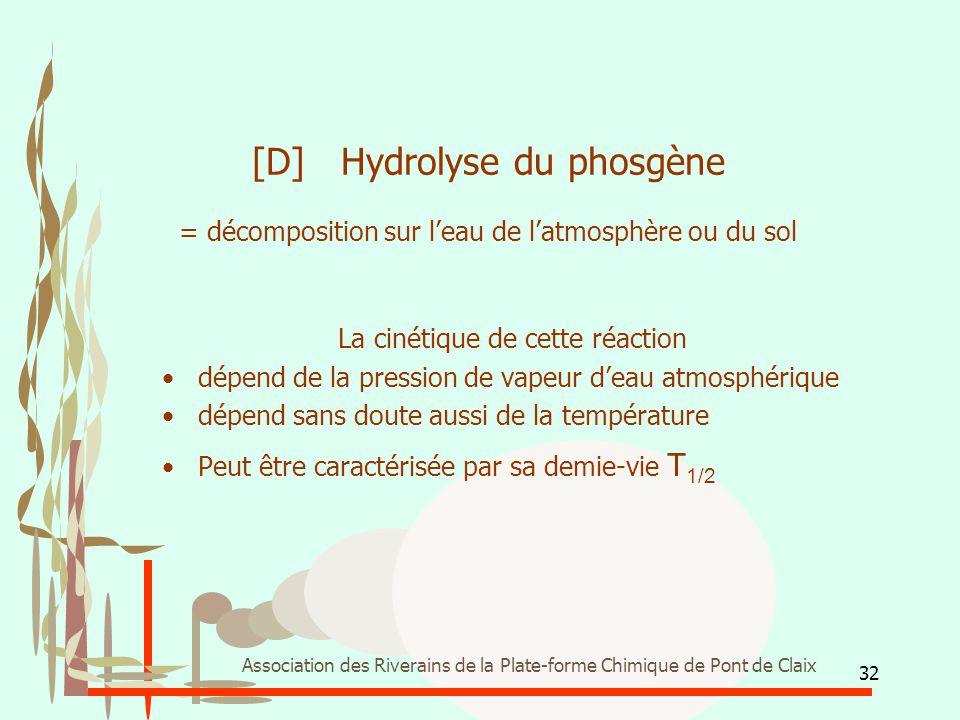 32 Association des Riverains de la Plate-forme Chimique de Pont de Claix [D] Hydrolyse du phosgène = décomposition sur l'eau de l'atmosphère ou du sol