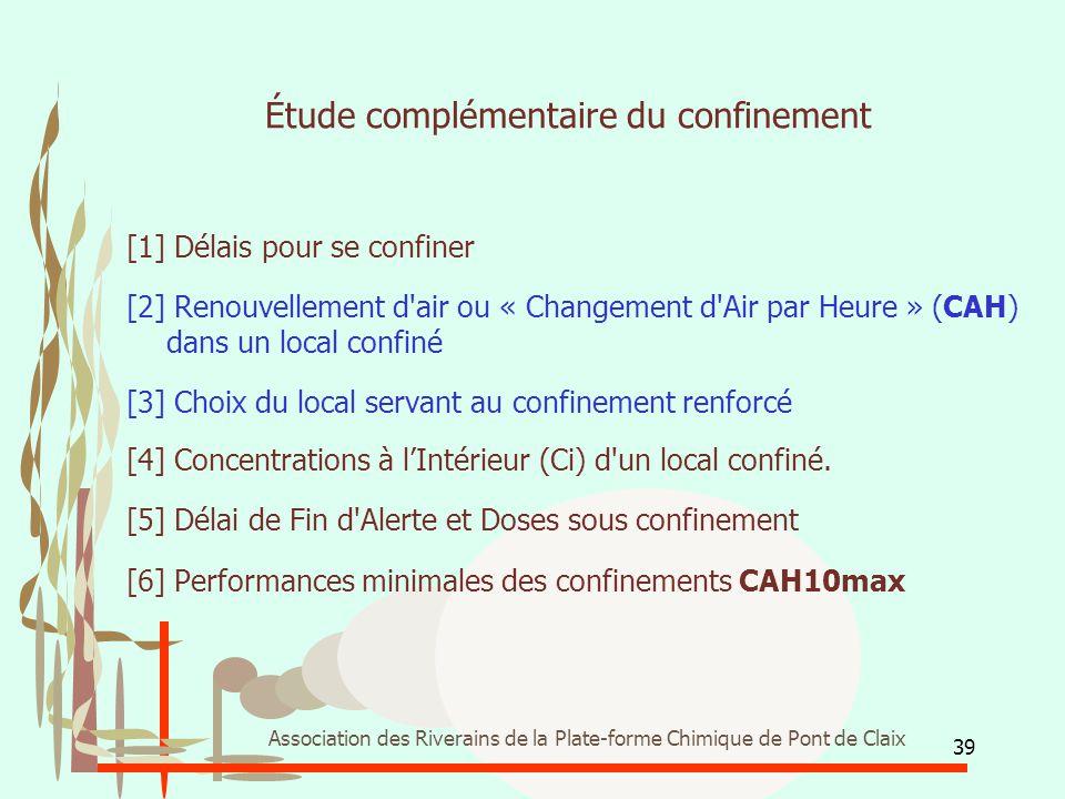 39 Association des Riverains de la Plate-forme Chimique de Pont de Claix Étude complémentaire du confinement [1] Délais pour se confiner [2] Renouvell