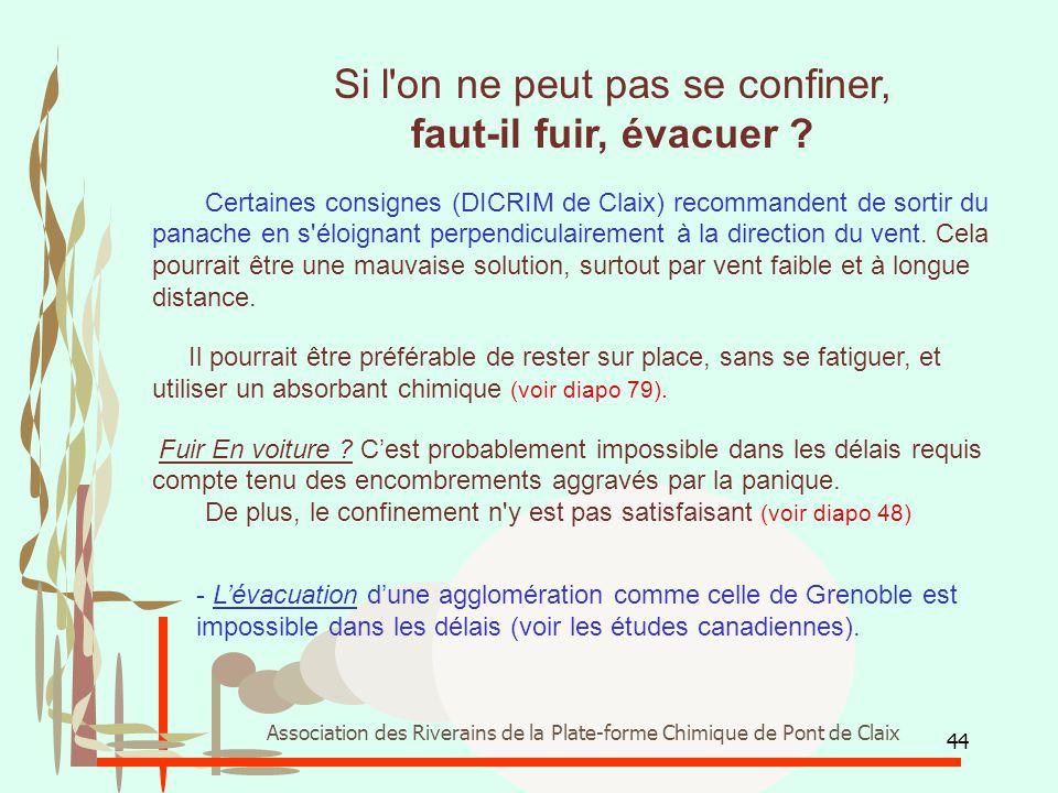 44 Association des Riverains de la Plate-forme Chimique de Pont de Claix Si l'on ne peut pas se confiner, faut-il fuir, évacuer ? Certaines consignes