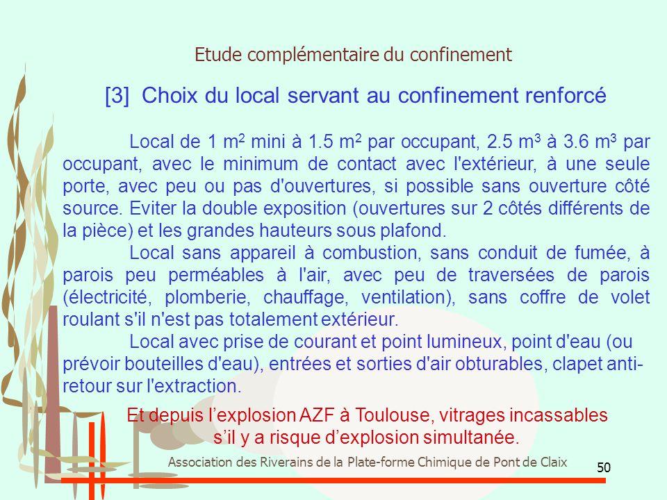 50 Association des Riverains de la Plate-forme Chimique de Pont de Claix [3] Choix du local servant au confinement renforcé Local de 1 m 2 mini à 1.5