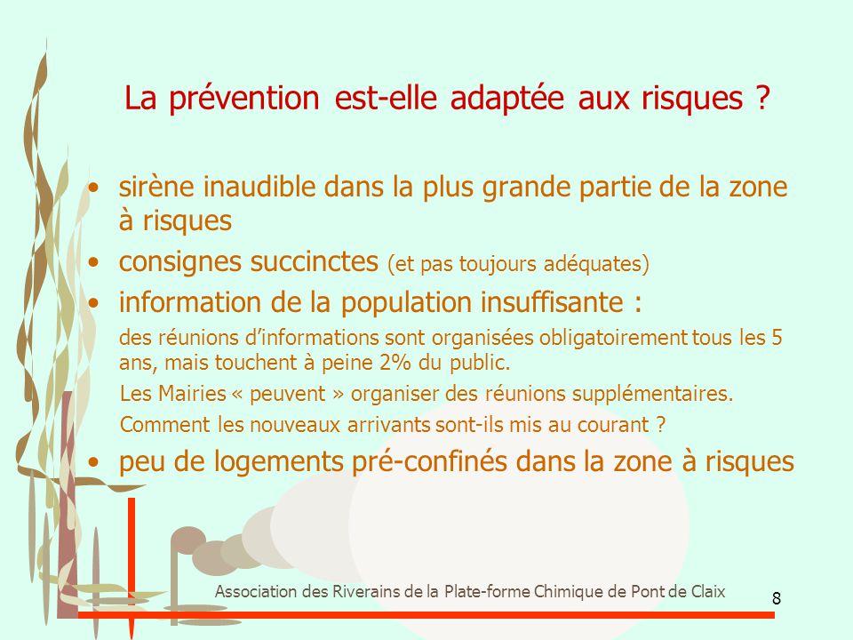 8 Association des Riverains de la Plate-forme Chimique de Pont de Claix La prévention est-elle adaptée aux risques ? sirène inaudible dans la plus gra