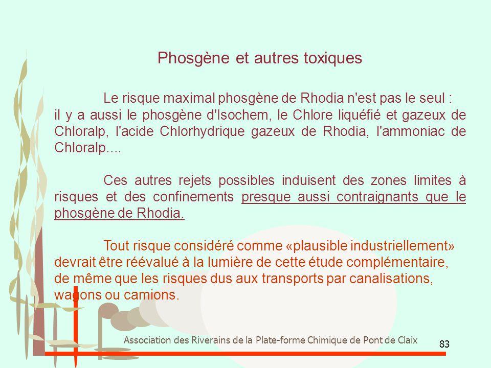 83 Association des Riverains de la Plate-forme Chimique de Pont de Claix Phosgène et autres toxiques Le risque maximal phosgène de Rhodia n'est pas le