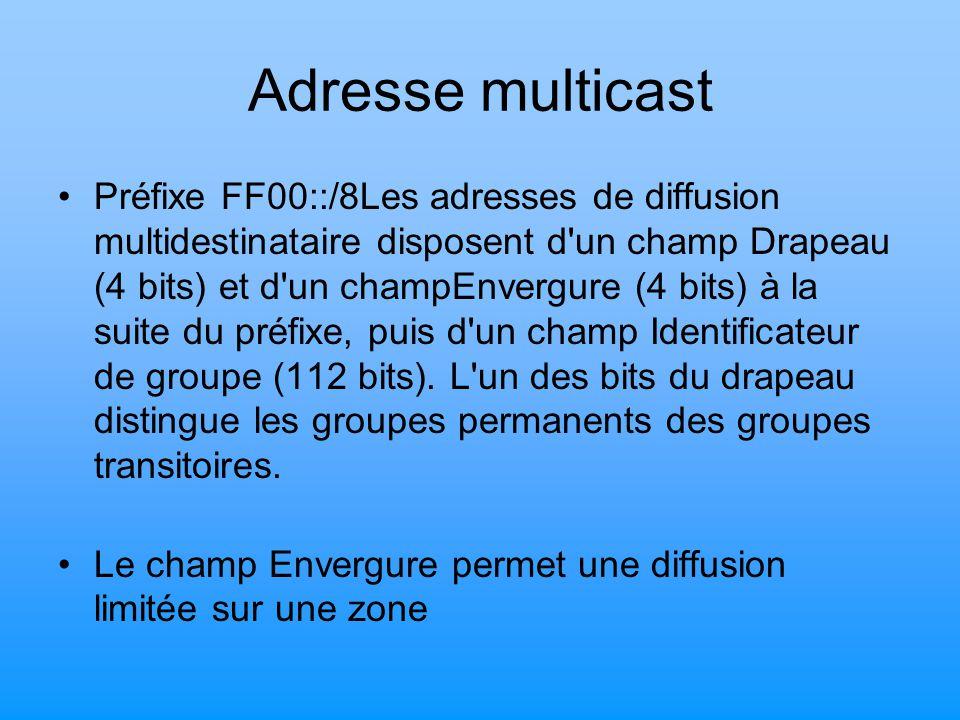 Adresse multicast Préfixe FF00::/8Les adresses de diffusion multidestinataire disposent d'un champ Drapeau (4 bits) et d'un champEnvergure (4 bits) à