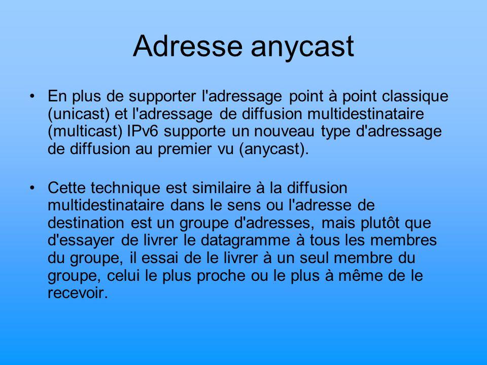 Adresse anycast En plus de supporter l'adressage point à point classique (unicast) et l'adressage de diffusion multidestinataire (multicast) IPv6 supp