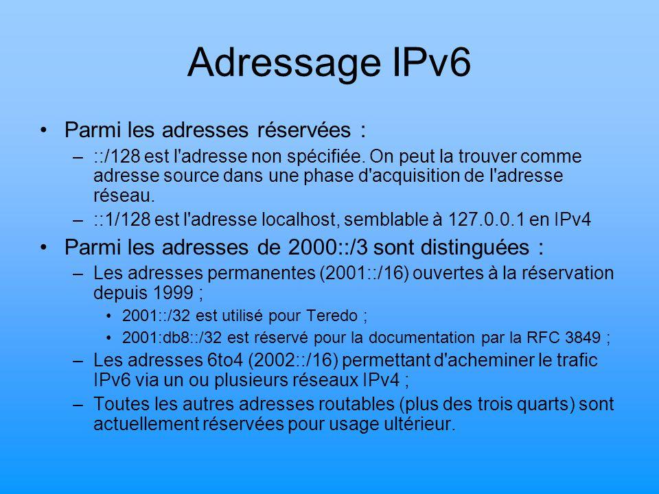 Adressage IPv6 Parmi les adresses réservées : –::/128 est l'adresse non spécifiée. On peut la trouver comme adresse source dans une phase d'acquisitio