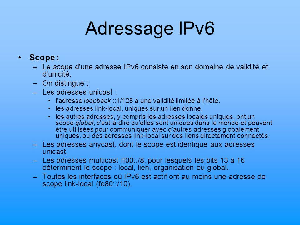 Adressage IPv6 Scope : –Le scope d'une adresse IPv6 consiste en son domaine de validité et d'unicité. –On distingue : –Les adresses unicast : l'adress