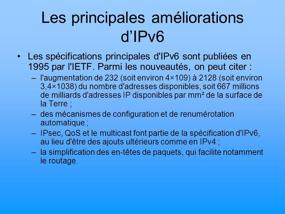 Les principales améliorations d'IPv6 Les spécifications principales d'IPv6 sont publiées en 1995 par l'IETF. Parmi les nouveautés, on peut citer : –l'