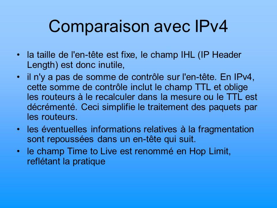 Comparaison avec IPv4 la taille de l'en-tête est fixe, le champ IHL (IP Header Length) est donc inutile, il n'y a pas de somme de contrôle sur l'en-tê