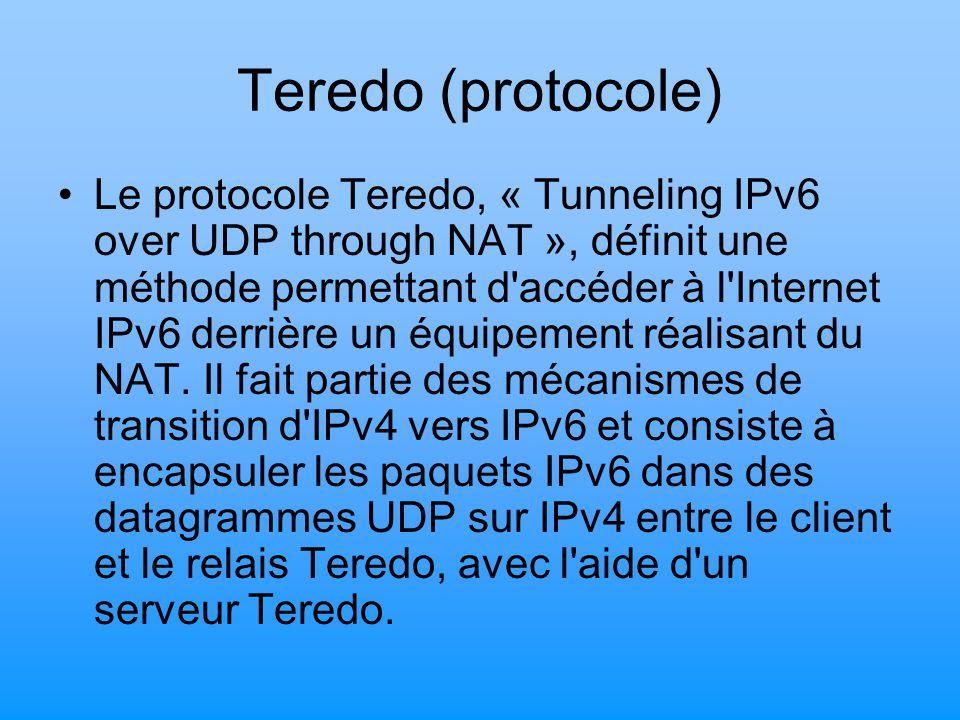 Teredo (protocole) Le protocole Teredo, « Tunneling IPv6 over UDP through NAT », définit une méthode permettant d'accéder à l'Internet IPv6 derrière u