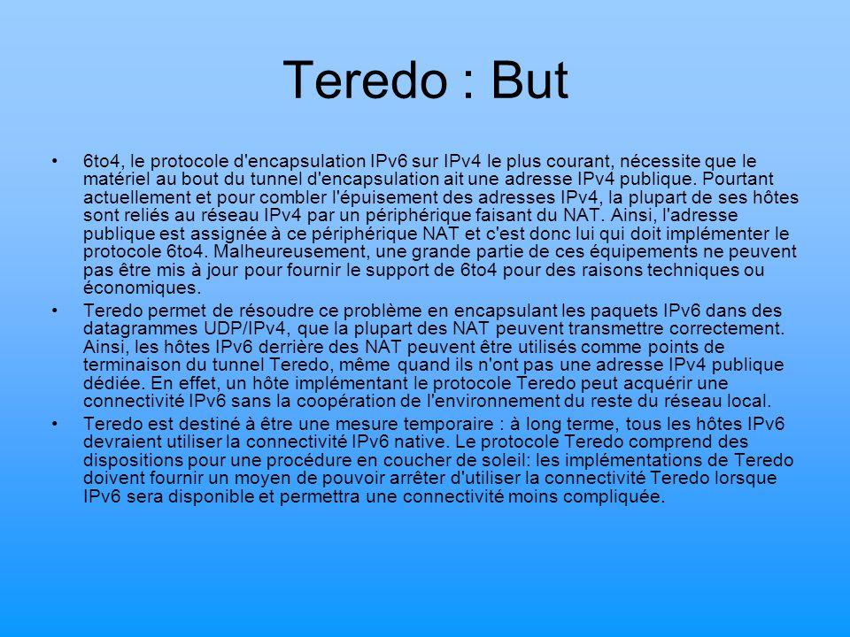 Teredo : But 6to4, le protocole d'encapsulation IPv6 sur IPv4 le plus courant, nécessite que le matériel au bout du tunnel d'encapsulation ait une adr