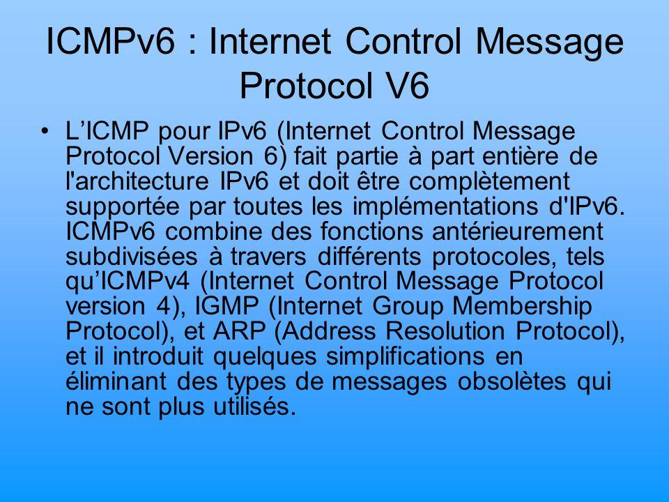 ICMPv6 : Internet Control Message Protocol V6 L'ICMP pour IPv6 (Internet Control Message Protocol Version 6) fait partie à part entière de l'architect