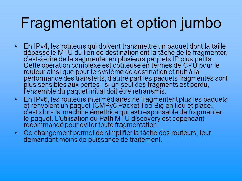 Fragmentation et option jumbo En IPv4, les routeurs qui doivent transmettre un paquet dont la taille dépasse le MTU du lien de destination ont la tâch