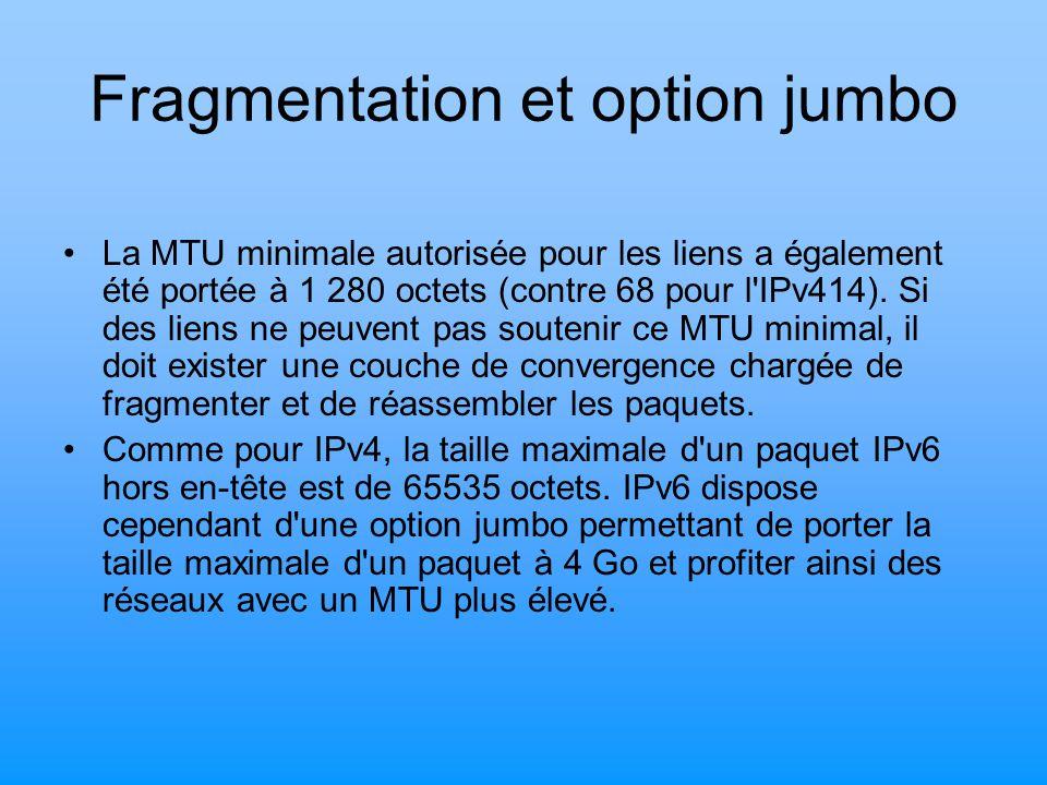 Fragmentation et option jumbo La MTU minimale autorisée pour les liens a également été portée à 1 280 octets (contre 68 pour l'IPv414). Si des liens n
