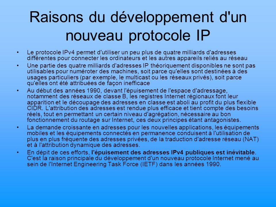 Raisons du développement d'un nouveau protocole IP Le protocole IPv4 permet d'utiliser un peu plus de quatre milliards d'adresses différentes pour con