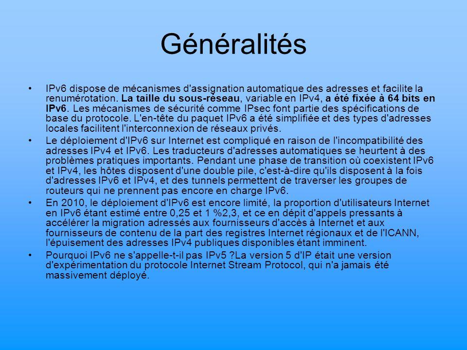 Généralités IPv6 dispose de mécanismes d'assignation automatique des adresses et facilite la renumérotation. La taille du sous-réseau, variable en IPv