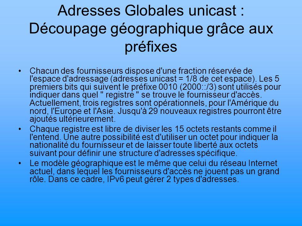 Adresses Globales unicast : Découpage géographique grâce aux préfixes Chacun des fournisseurs dispose d'une fraction réservée de l'espace d'adressage