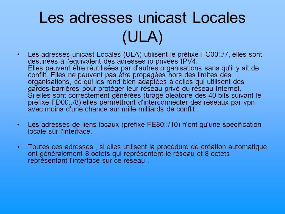 Les adresses unicast Locales (ULA) Les adresses unicast Locales (ULA) utilisent le préfixe FC00::/7, elles sont destinées à l'équivalent des adresses