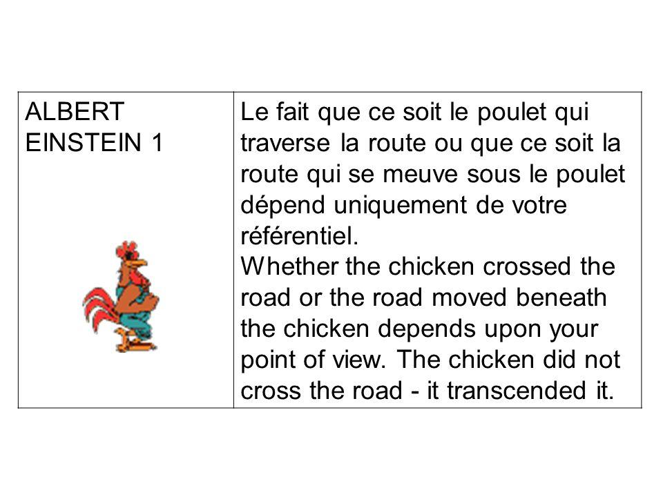 ALBERT EINSTEIN 1 Le fait que ce soit le poulet qui traverse la route ou que ce soit la route qui se meuve sous le poulet dépend uniquement de votre référentiel.