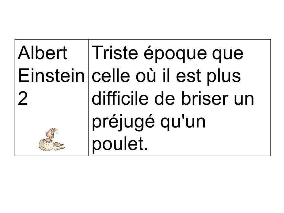 Albert Einstein 2 Triste époque que celle où il est plus difficile de briser un préjugé qu un poulet.