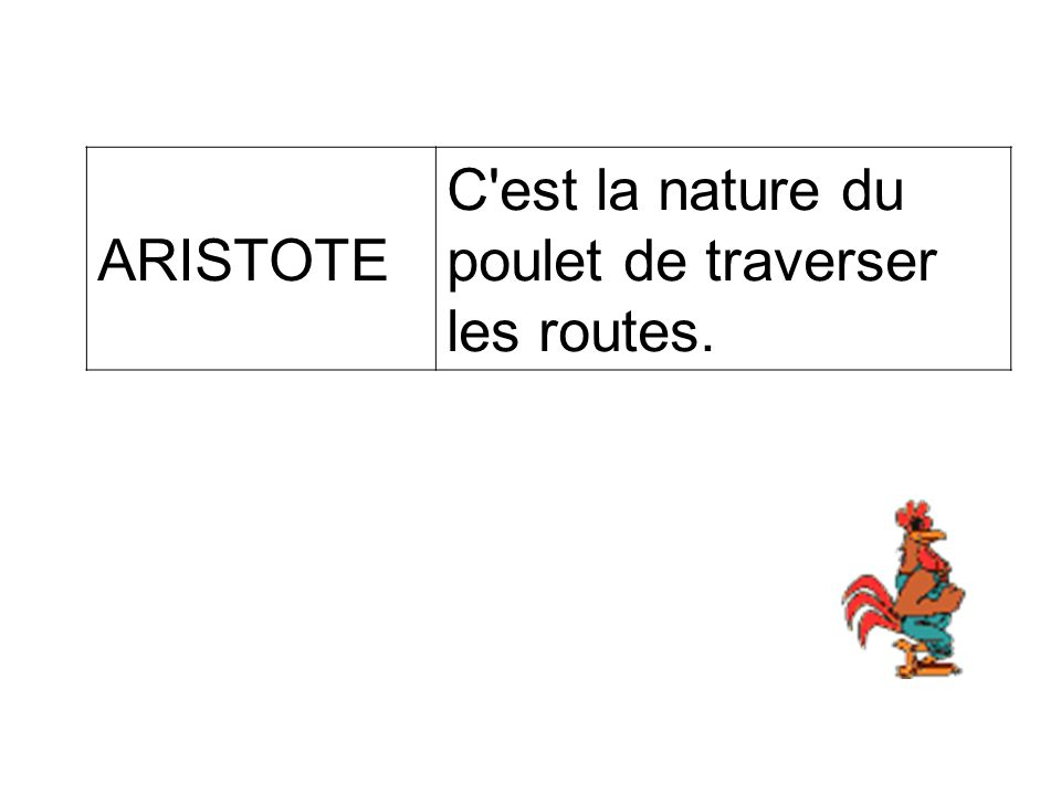 ARISTOTE C est la nature du poulet de traverser les routes.