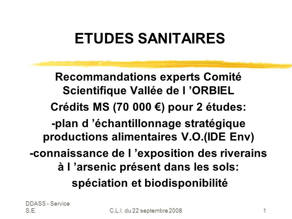 DDASS - Service S.E.C.L.I.du 22 septembre 20082 L 'Arsenic dans les sols INERIS:C.L.I.