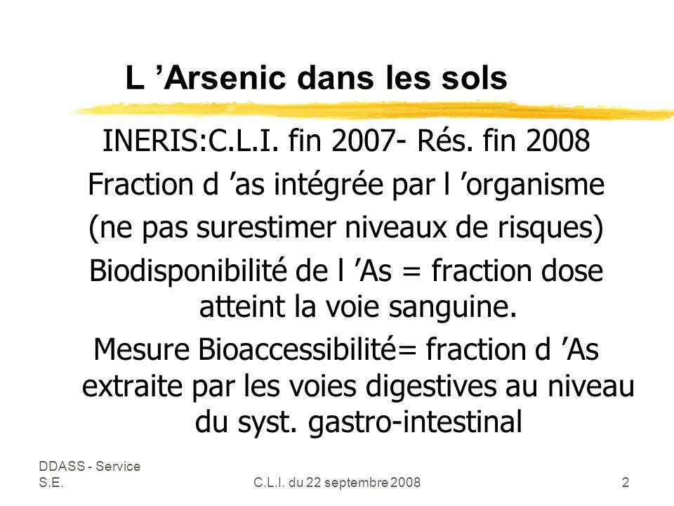 DDASS - Service S.E.C.L.I. du 22 septembre 20082 L 'Arsenic dans les sols INERIS:C.L.I.