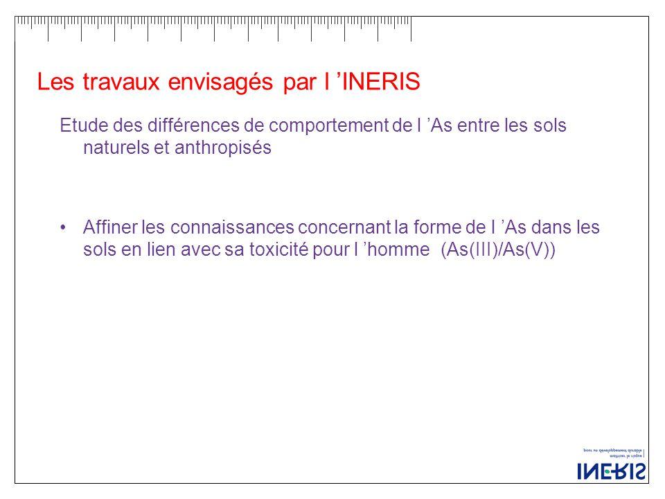 Les travaux envisagés par l 'INERIS Etude des différences de comportement de l 'As entre les sols naturels et anthropisés Affiner les connaissances concernant la forme de l 'As dans les sols en lien avec sa toxicité pour l 'homme(As(III)/As(V))