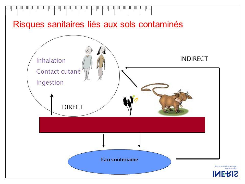 Risques sanitaires liés aux sols contaminés Eau souterraine DIRECT Inhalation Contact cutané Ingestion INDIRECT