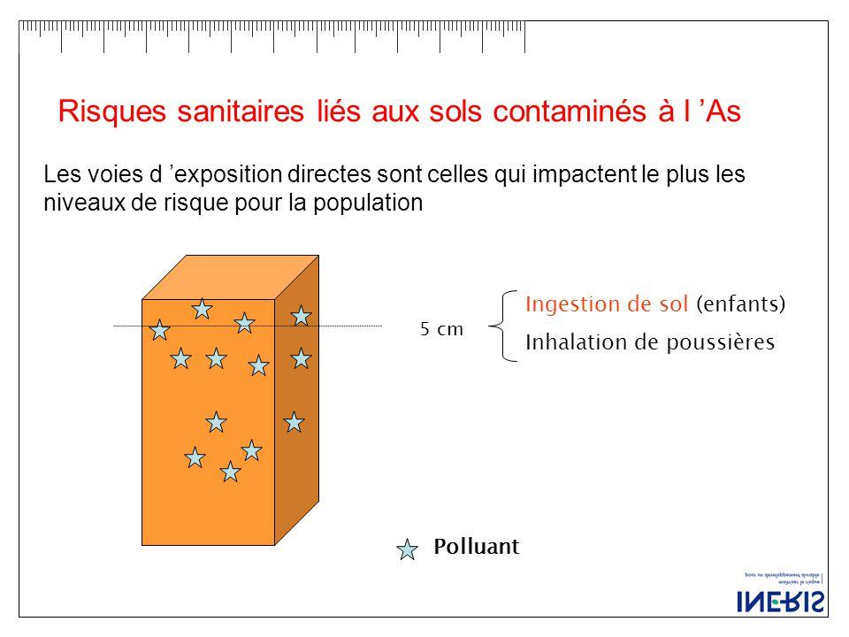 Risques sanitaires liés aux sols contaminés à l 'As 5 cm Ingestion de sol (enfants) Inhalation de poussières Polluant Les voies d 'exposition directes sont celles qui impactent le plus les niveaux de risque pour la population