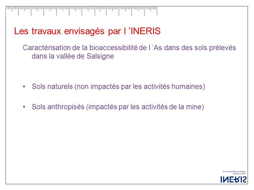 Les travaux envisagés par l 'INERIS Caractérisation de la bioaccessibilité de l 'As dans des sols prélevés dans la vallée de Salsigne Sols naturels (non impactés par les activités humaines) Sols anthropisés (impactés par les activités de la mine)