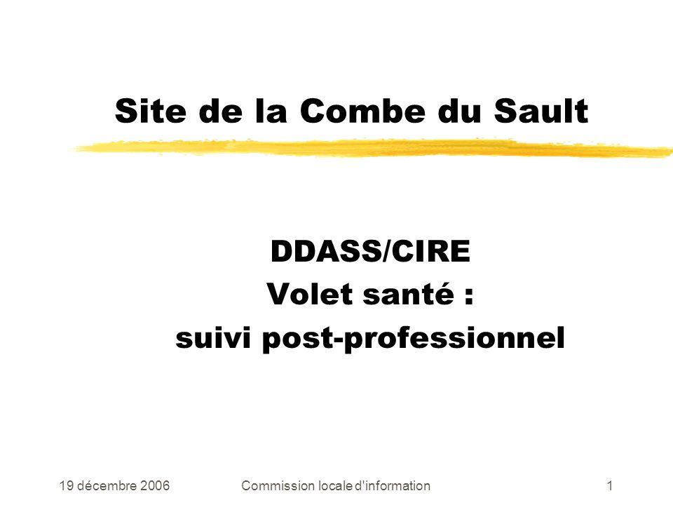 19 décembre 2006Commission locale d information1 Site de la Combe du Sault DDASS/CIRE Volet santé : suivi post-professionnel