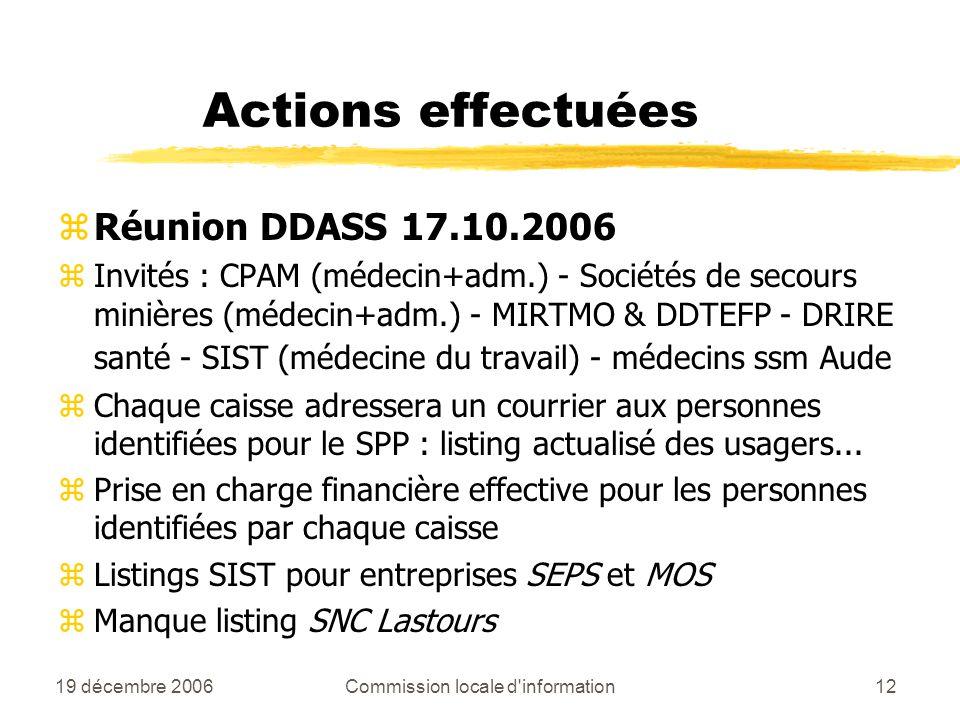 19 décembre 2006Commission locale d information12 Actions effectuées zRéunion DDASS 17.10.2006 zInvités : CPAM (médecin+adm.) - Sociétés de secours minières (médecin+adm.) - MIRTMO & DDTEFP - DRIRE santé - SIST (médecine du travail) - médecins ssm Aude zChaque caisse adressera un courrier aux personnes identifiées pour le SPP : listing actualisé des usagers...