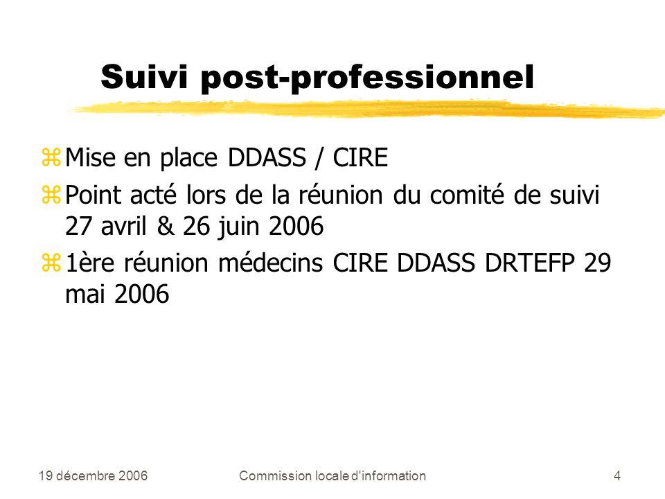 19 décembre 2006Commission locale d information4 Suivi post-professionnel zMise en place DDASS / CIRE zPoint acté lors de la réunion du comité de suivi 27 avril & 26 juin 2006 z1ère réunion médecins CIRE DDASS DRTEFP 29 mai 2006