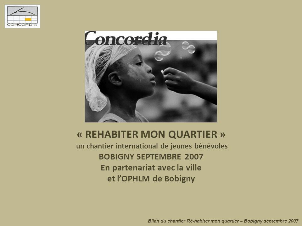 Le contexte La rencontre, les soutiens Le chantier « Ré-habiter » mon quartier, est une initiative proposée par l'association Concordia, encouragée par l'Office HLM de Bobigny, en partenariat avec la Ville de Bobigny.