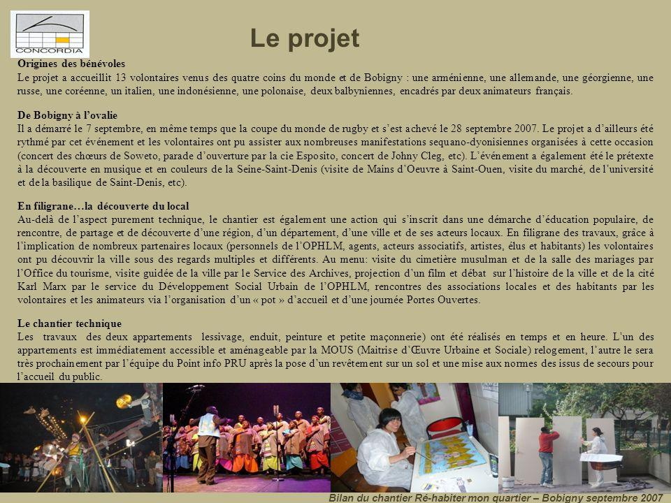 Respect des objectifs… Bilan du chantier Ré-habiter mon quartier – Bobigny septembre 2007 - Permettre à des jeunes bénévoles de participer à la restauration et à la valorisation du patrimoine local.