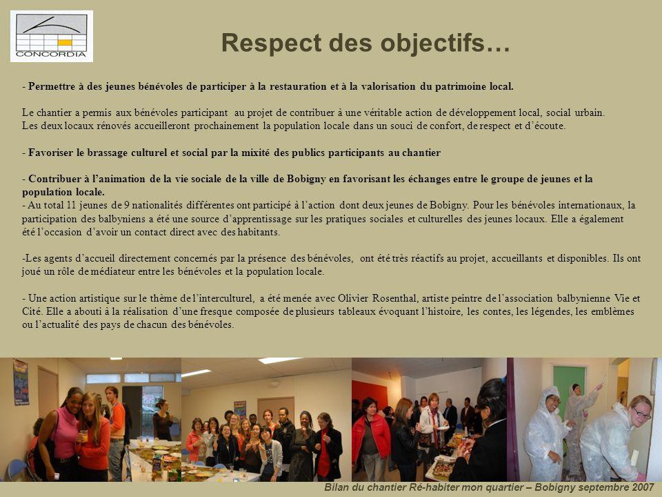 Respect des objectifs… Bilan du chantier Ré-habiter mon quartier – Bobigny septembre 2007 - Permettre à des jeunes bénévoles de participer à la restau