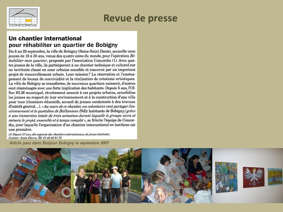 Revue de presse Article paru dans Bonjour Bobigny le septembre 2007