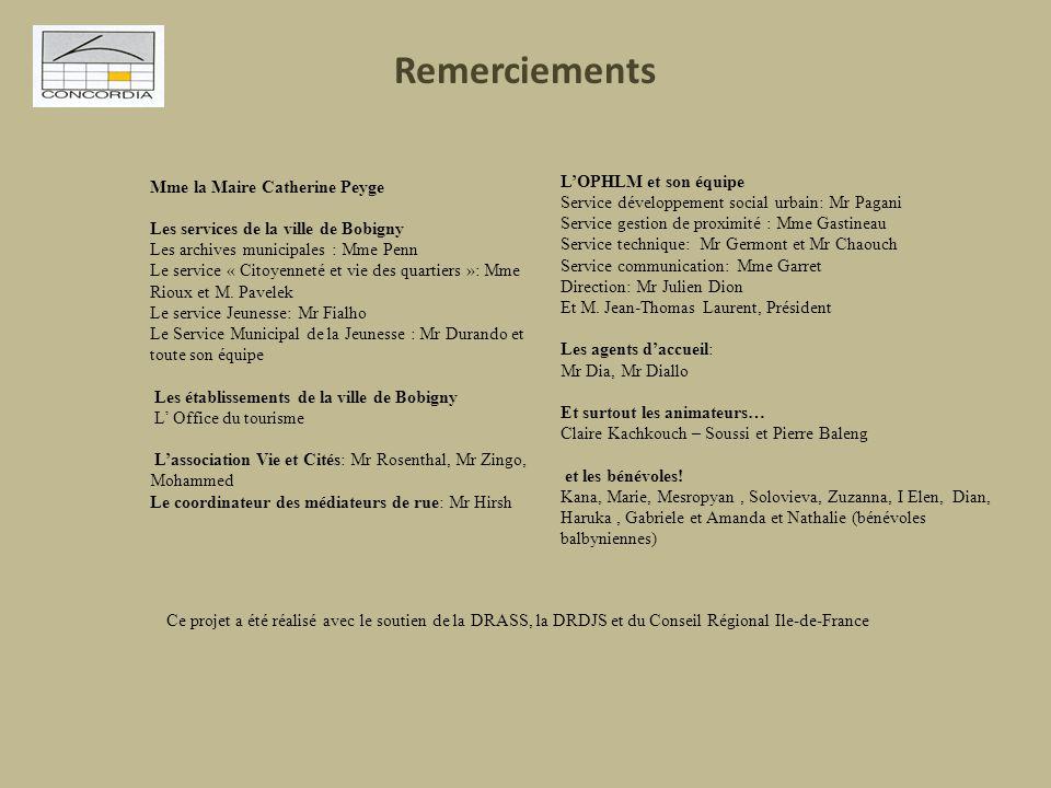 Remerciements Mme la Maire Catherine Peyge Les services de la ville de Bobigny Les archives municipales : Mme Penn Le service « Citoyenneté et vie des