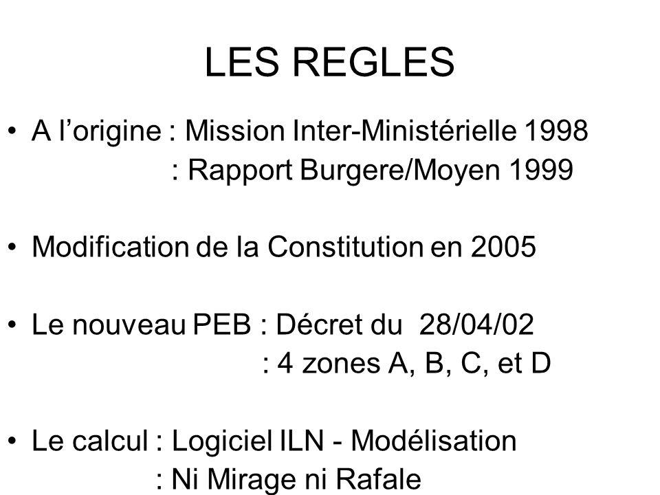LES REGLES A l'origine : Mission Inter-Ministérielle 1998 : Rapport Burgere/Moyen 1999 Modification de la Constitution en 2005 Le nouveau PEB : Décret du 28/04/02 : 4 zones A, B, C, et D Le calcul : Logiciel ILN - Modélisation : Ni Mirage ni Rafale