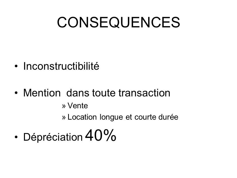 CONSEQUENCES Inconstructibilité Mention dans toute transaction »Vente »Location longue et courte durée Dépréciation 40%